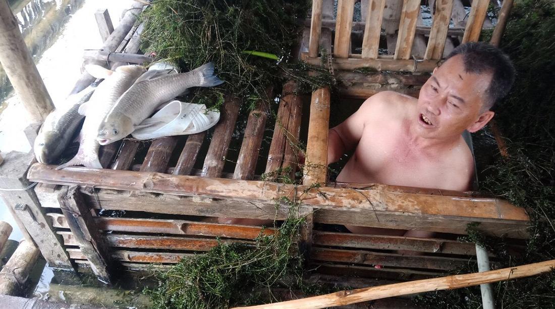 Người dân vớt cá chết trong lồng nuôi. Ảnh: Lam Sơn