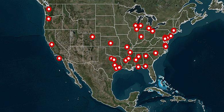 Các vụ xả súng ở Mỹ trong vòng một tháng qua. Đồ họa: CNN.