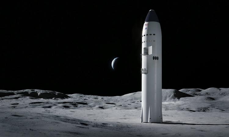 Mô phỏng tàu Starship hạ cánh trên Mặt Trăng. Ảnh: SpaceX.