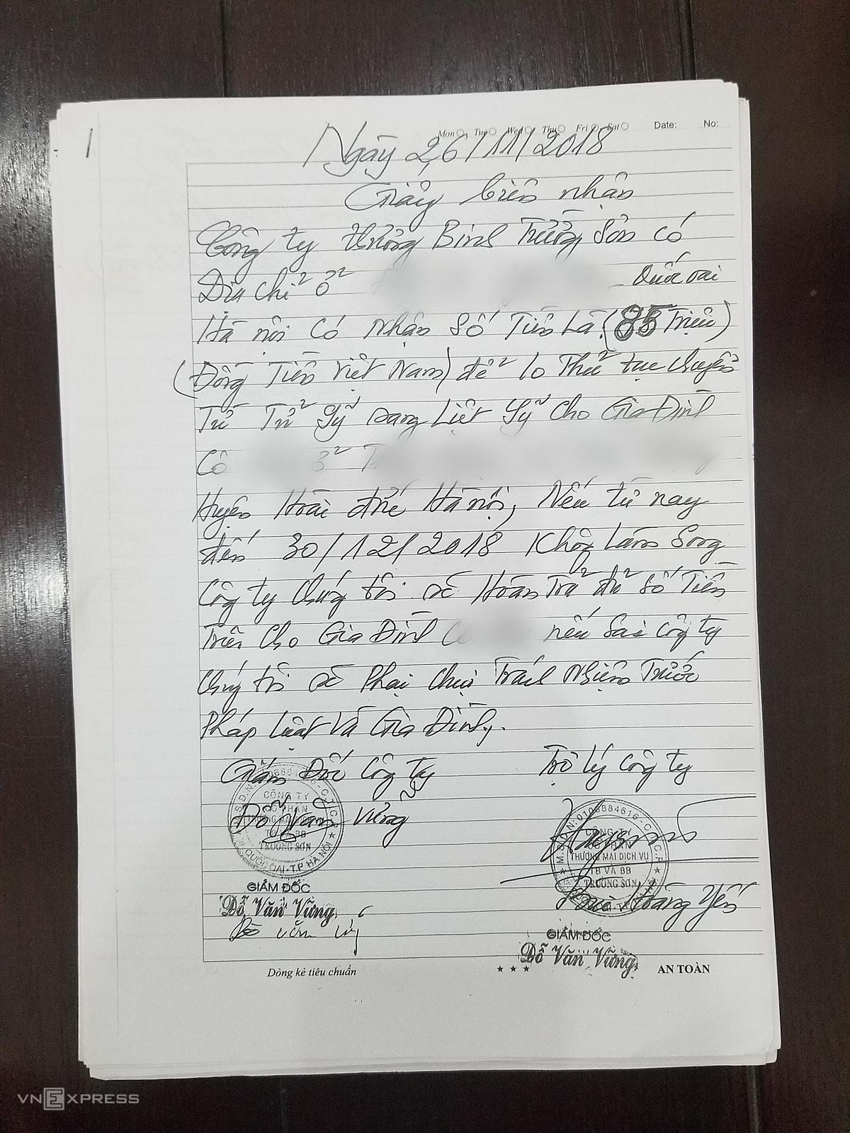 bản sao giấy biên nhận tiền Nguyễn Thị yến