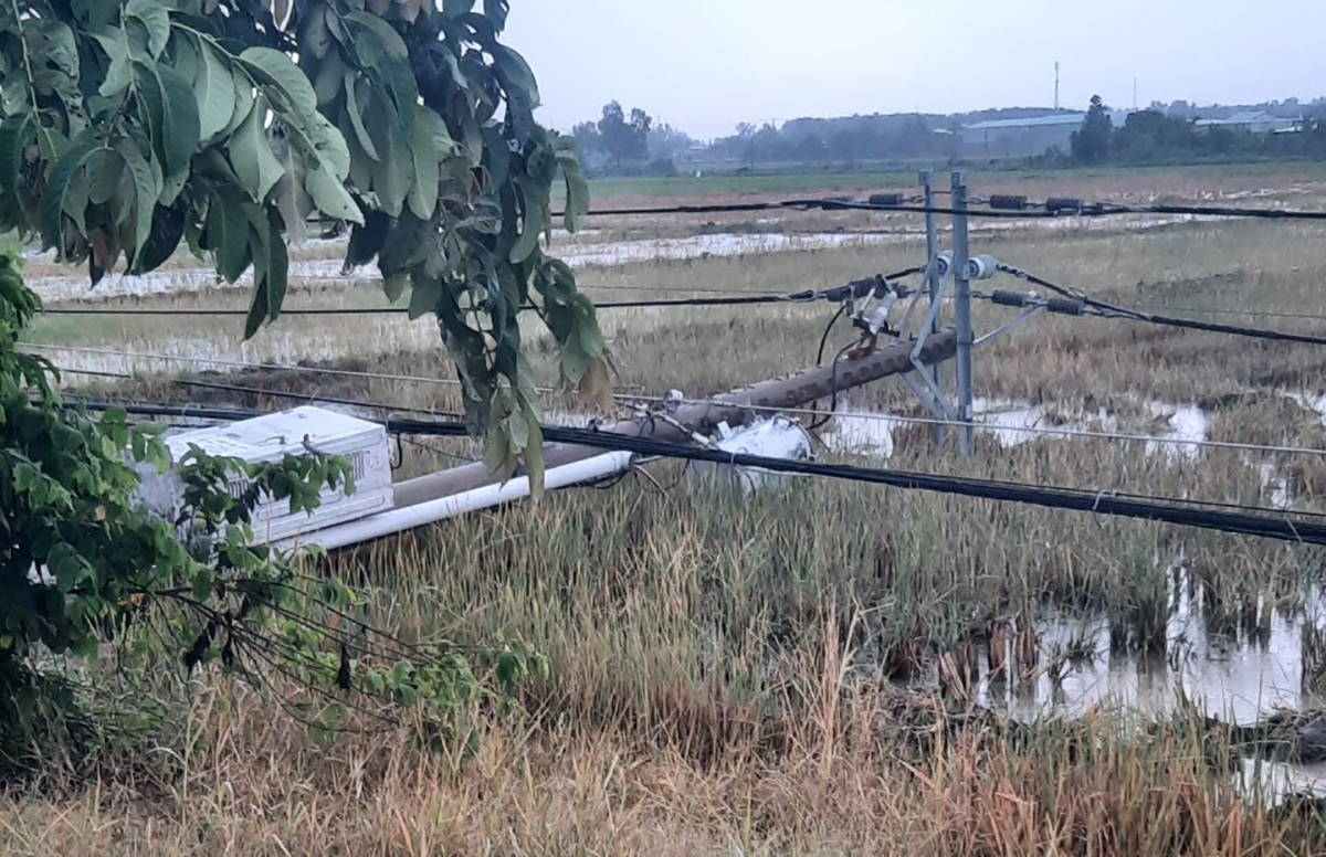 Trụ điện kéo theo nhiều đường dây diện trung thế và biến áp ngã trong cơn mưa, chiều 19/4. Ảnh: Trần Tâm.