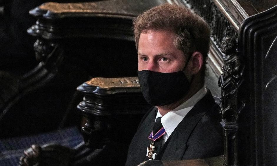 Harry trong đám tang Hoàng thân Philip hôm 17/4. Ảnh: AFP.