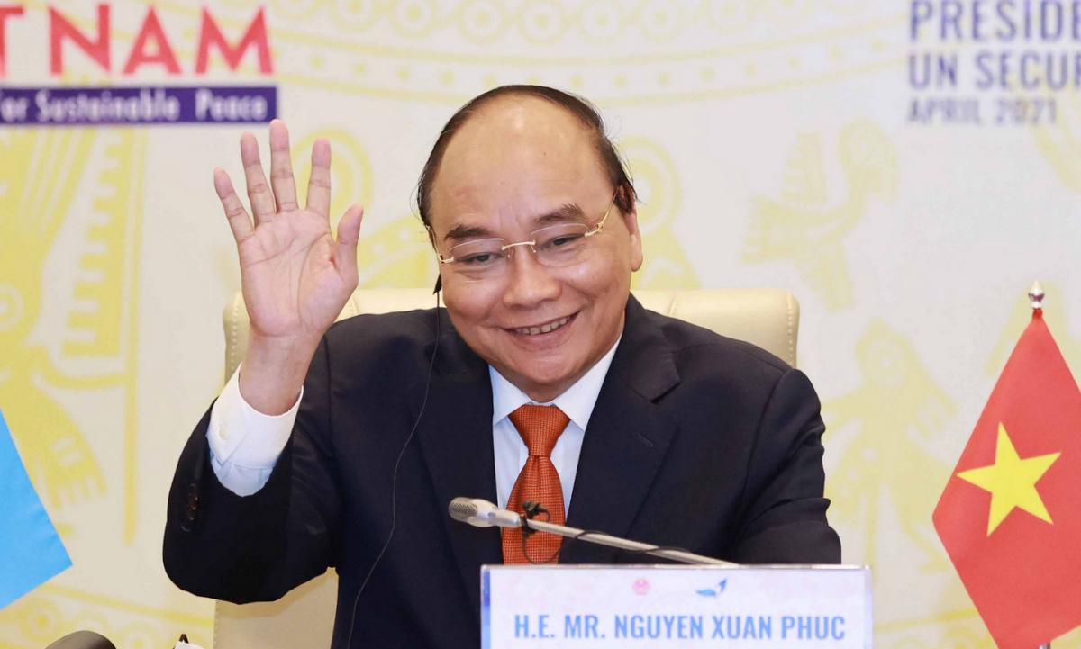 Chủ tịch nước Nguyễn Xuân Phúc trong phiên thảo luận hôm 19/4. Ảnh: Bộ Ngoại giao.