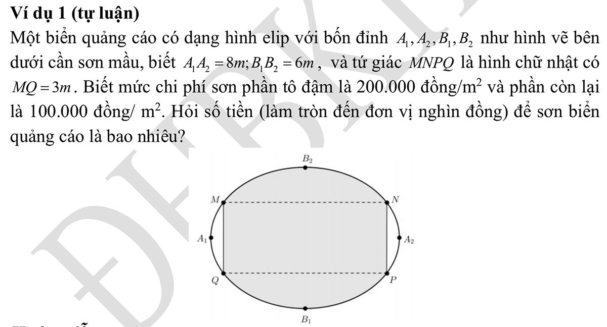Một ví dụ về câu tự luận trong phần Toán.