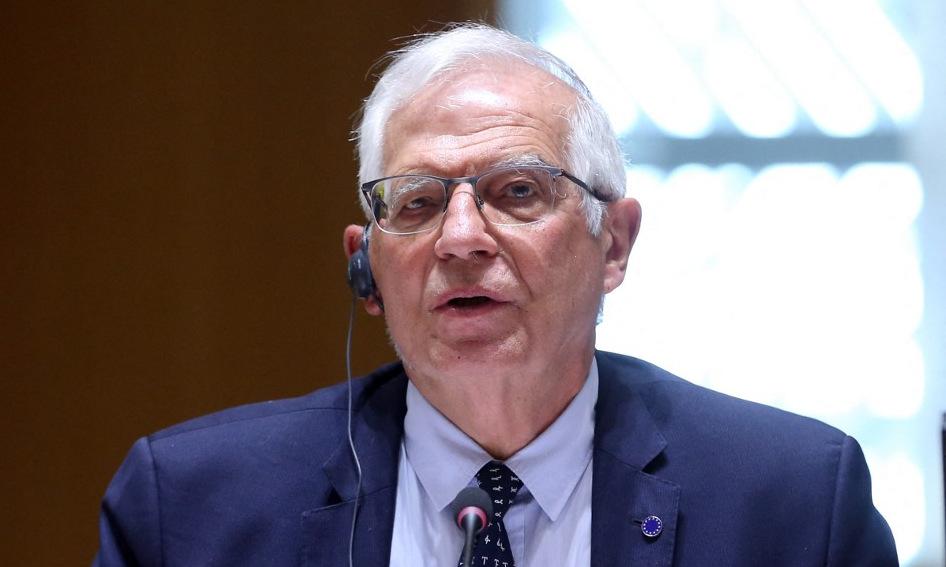 Đại diện cấp cao Borrell tại cuộc họp Hội đồng châu Âu hôm 19/4. Ảnh: AFP.