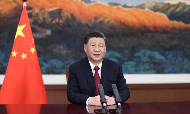Chủ tịch Trung Quốc Tập Cận Bình phát biểu khai mạc qua liên kết video tại Diễn đàn châu Á Bác Ngao (BFA) ở tỉnh Hải Nam hôm nay. Ảnh: Xinhua.