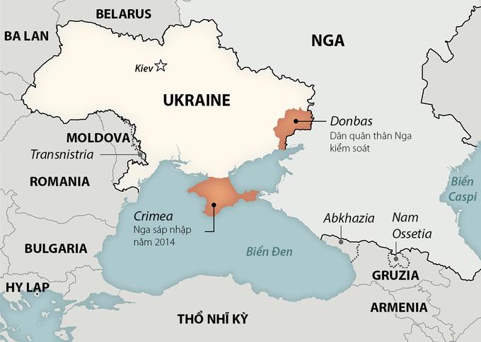 Khu vực biên giới Nga - Ukraine và bán đảo Crimea. Đồ họa: Washington Post.