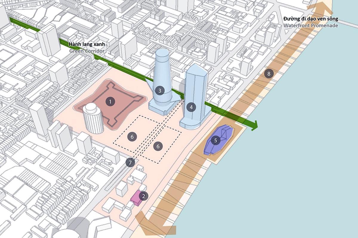 Khu vực quy hoạch làm quảng trường trung tâm, theo Điều chỉnh quy hoạch chung thành phố Đà Nẵng đến năm 2030, tầm nhìn 2045.