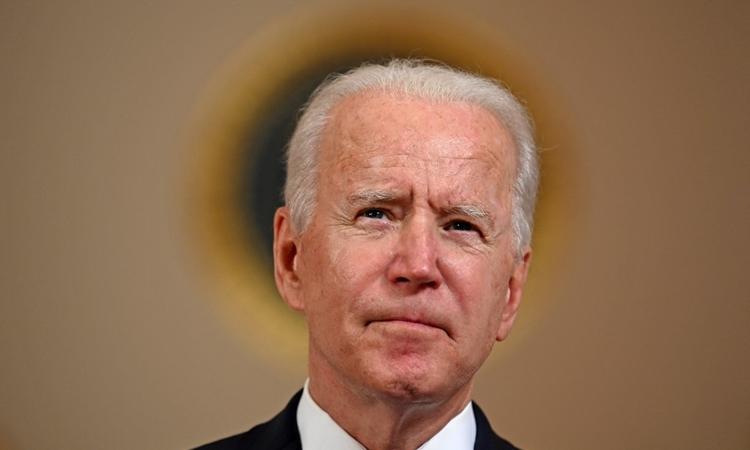 Tổng thống Mỹ Joe Biden trong cuộc họp báo ở Nhà Trắng hôm 20/4. Ảnh: AFP.