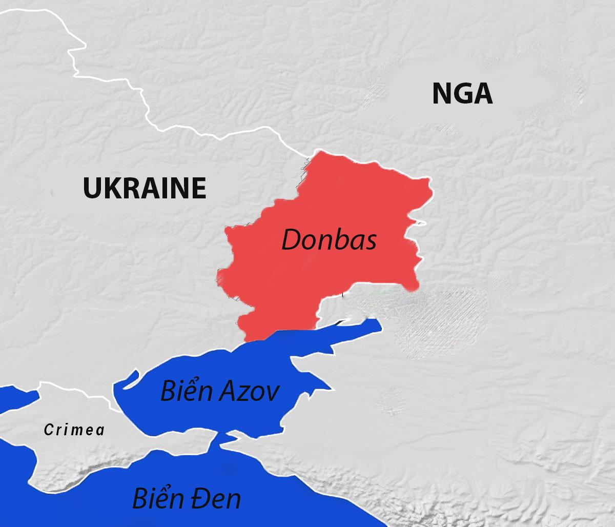 Khu vực Donbas ở miền đông Ukraine, giáp biên giới Nga. Đồ họa: Viện Lowy.