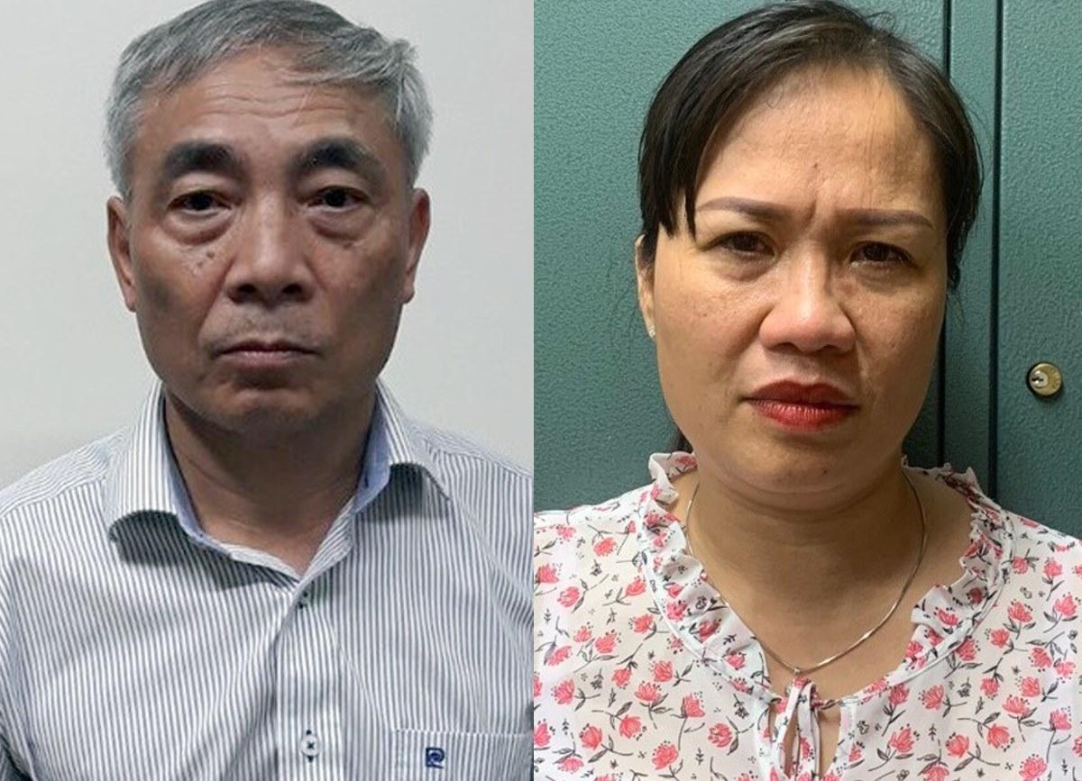 Ông Hiền và bà Thuận tại cơ quan điều tra. Ảnh:Bộ Công an