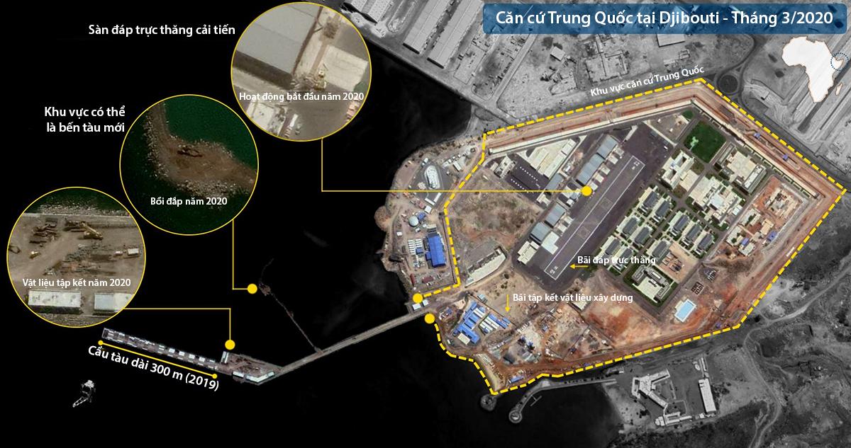 Hoạt động xây dựng cầu cảng tại căn cứ Trung Quốc ở Djibouti tháng 3/2020. Đồ họa: Forbes, Twitter/d-atis.