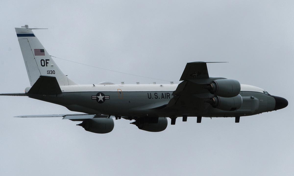 Trinh sát cơ RC-135W của không quân Mỹ cất cảnh từ căn cứ Offutt, bang Nebraska, tháng 5/2019. Ảnh: USAF.
