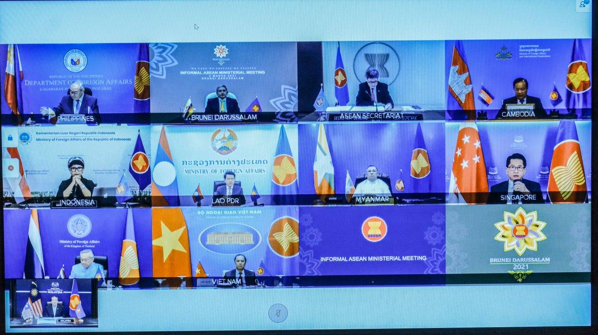 Hội nghị Bộ trưởng Ngoại giao ASEAN không chính thức ngày 2/3 có sự tham gia của đại diện Myanmar. Ảnh: AFP.
