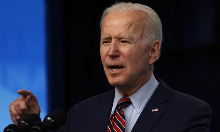 Tổng thống Mỹ Joe Biden phát biểu tại Tòa nhà Văn phòng Điều hành ở thủ đô Washington hôm 21/4. Ảnh: AFP.