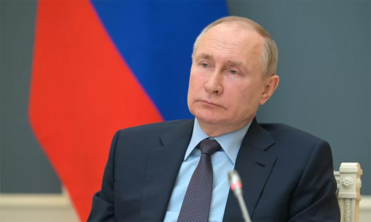 Tổng thống Nga Vladimir Putin trong cuộc họp trực tuyến ngày 14/4. Ảnh: RIA Novosti.