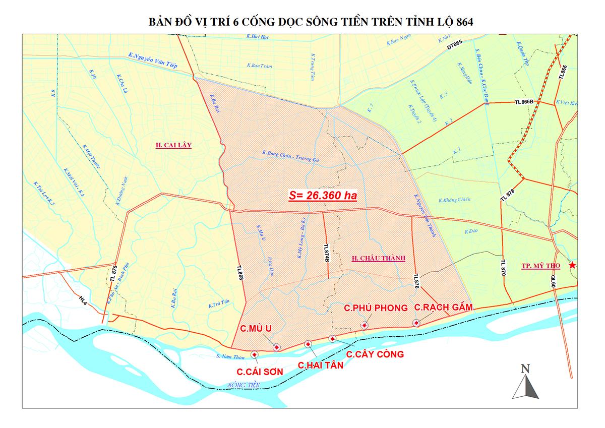6 cống ngăn mặn dọc sông Tiền kinh phí 880 tỷ đồng sẽ hoàn thành sau 3 năm. Ảnh: Sở Nông nghiệp và Phát triển nông thôn Tiền Giang