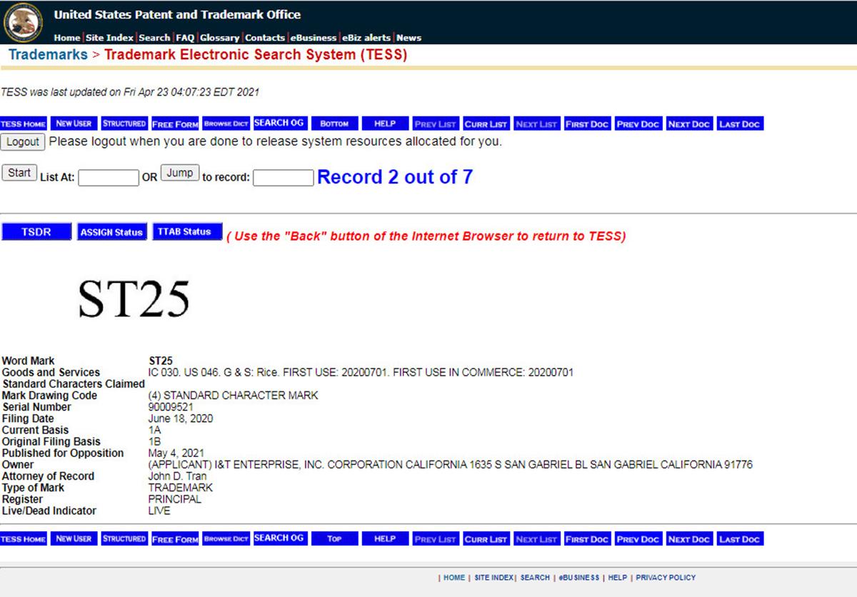 Nhãn hiệu ST25 với số seri 90009521 của I&T Enterprise, INC. Corporation sắp được Mỹ công bố cấp đăng ký sở hữu trí tuệ.