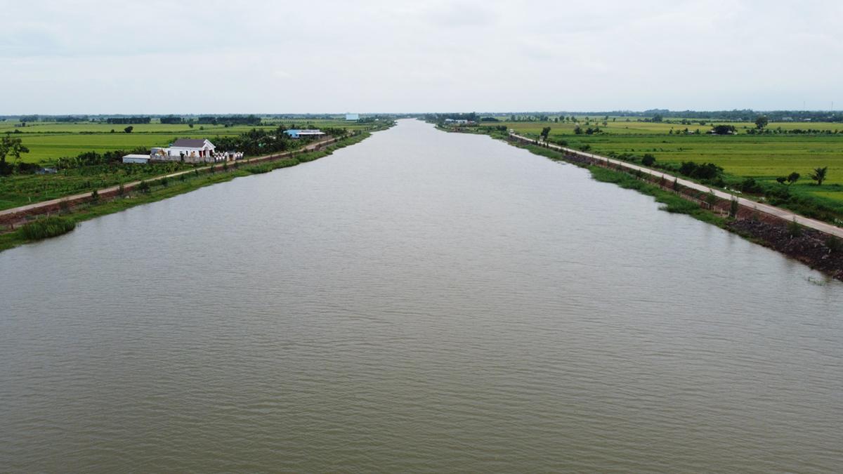 Hồ Kênh Lấp (Ba Tri) ngày 5/10, mực nước đã hơn 2 m sau những cơn mưa. Ảnh: Hoàng Nam