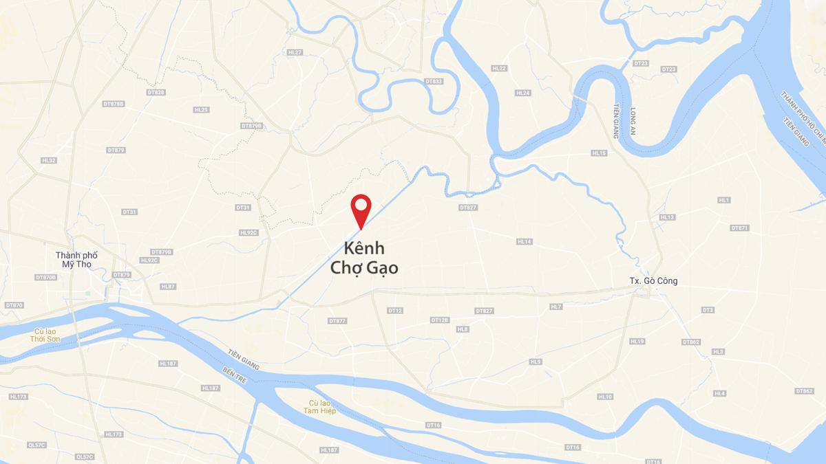 Kênh Chợ Gạo nối từ sông Vàm Cỏ qua sông Tiền. Đồ họa: Thanh Huyền.