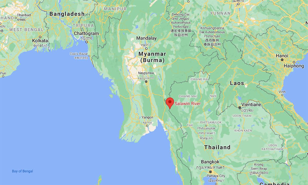 Khu vực gần nơi phiến quân KNU tập kích trại lính của quân chính phủ Myanmar ngày 27/4. Đồ họa: Google.