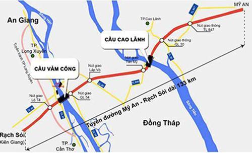 Sơ đồ hướng tuyến Cao tốc Mỹ An - Cao Lãnh kết nối trục đường Cao Lãnh - Rạch Sỏi. Ảnh: Cửu Long