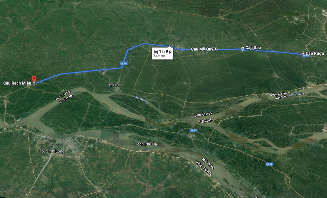 Từ cầu Rượu (huyện Châu Thành) đến cầu Rạch Miễu (huyện Cái Bè) trên quốc lộ 1A dài hơn 50 km. Ảnh: Google Maps.