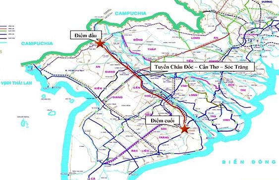 Bản đồn tuyến cao tốc Châu Đốc - Cần Thơ - Sóc Trăng. Ảnh: Cửu Long.