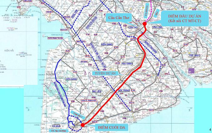 Hướng tuyến cao tốc Cần Thơ - Cà Mau (đường đỏ). Ảnh:Cửu Long.