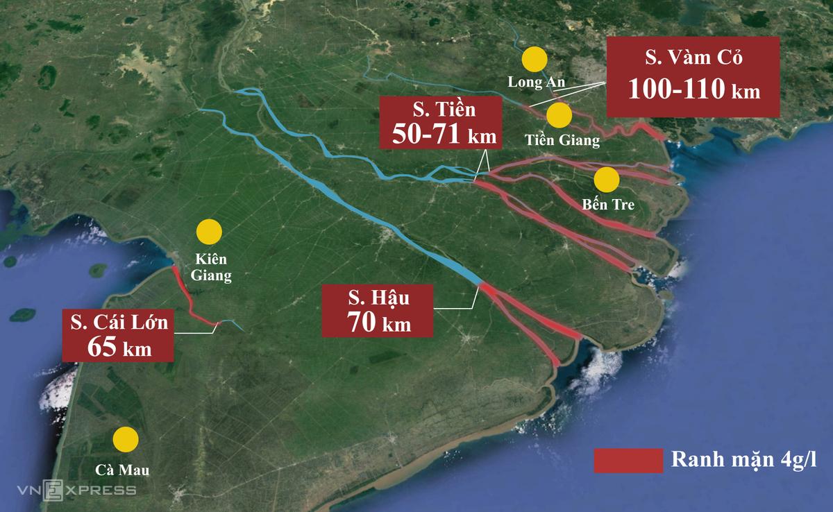 Giữa tháng 3, nước biển xâm nhập vào các con sông lớn ở miền Tây 50-110 km, vượt mốc lịch sử 2016 từ 2 đến 8 km. Ảnh: Thanh Huyền.