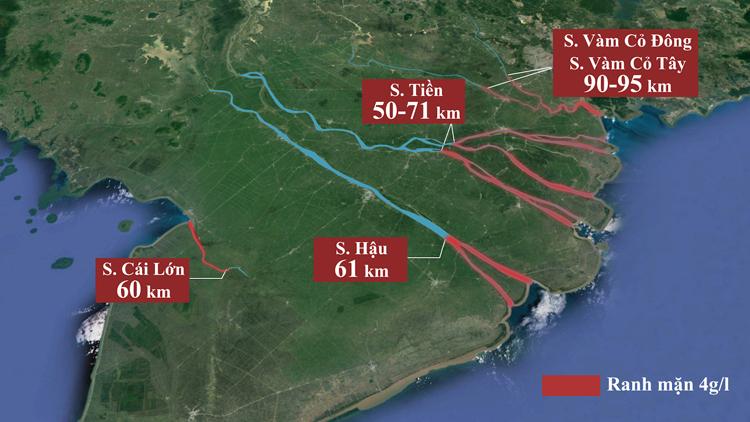 Giữa tháng 2, nước biển xâm nhập vào các con sông lớn ở miền Tây 50-90 km, sâu hơn năm 2016 từ 2 đến 11 km. Ảnh: Thanh Huyền.
