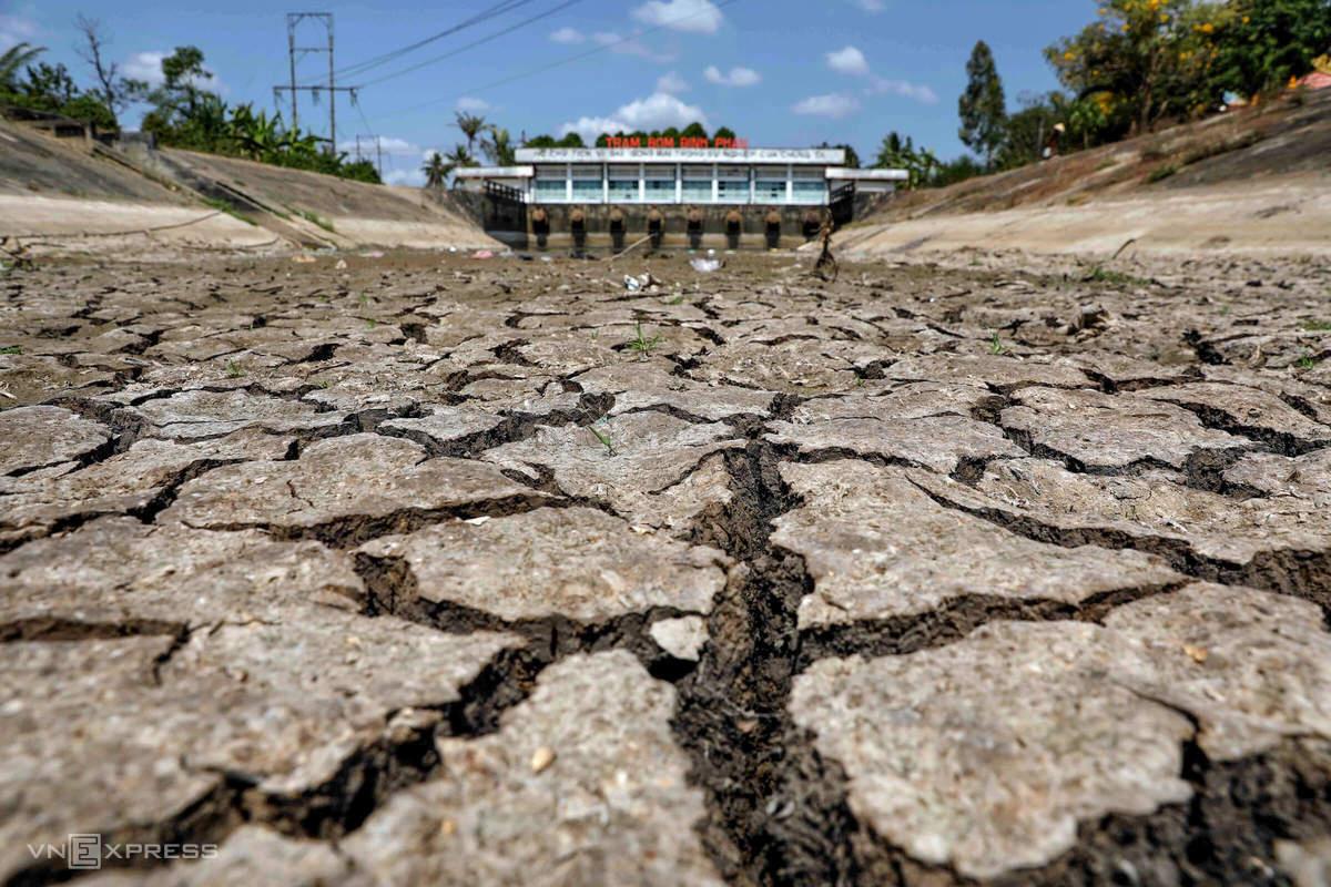 Lòng hồ tại trạm bơm Bình Phan (huyện Chợ Gạo, Tiền Giang), nơi cung cấp nước cho khoảng 8.500 ha đất trồng trọt ở địa phương cạn trơ đáy hồi tháng 3. Ảnh: Hữu Khoa.