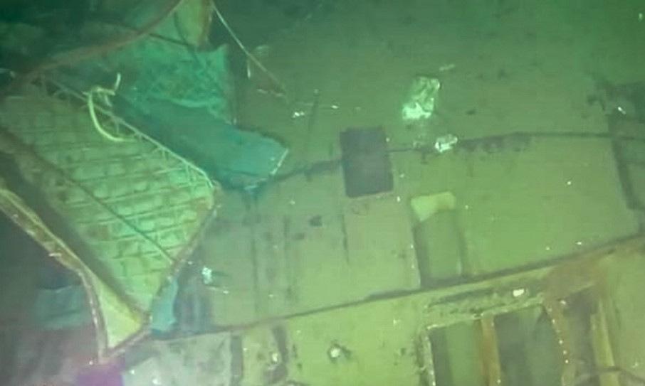 Một phần xác tàu ngầm KRI Nanggala được tìm thấy hôm 25/4. Ảnh: Hải quân Indonesia.