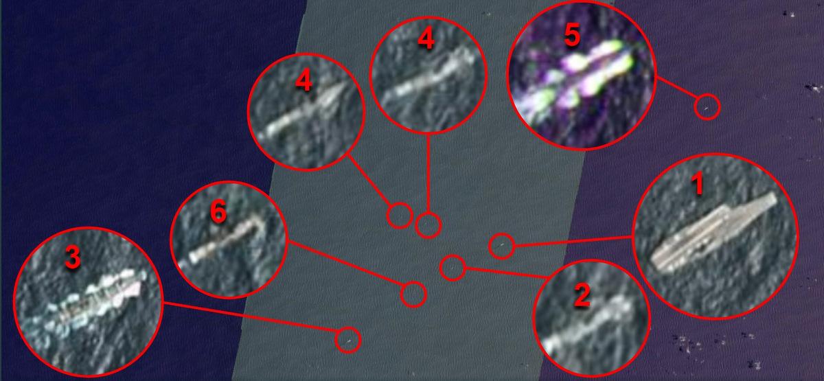 Các tàu trong nhóm tác chiến Trung Quốc (từ 1-5) và khu trục hạm Mỹ (số 6) trên biển Philippines hôm 26/4. Ảnh: Platnet Labs.