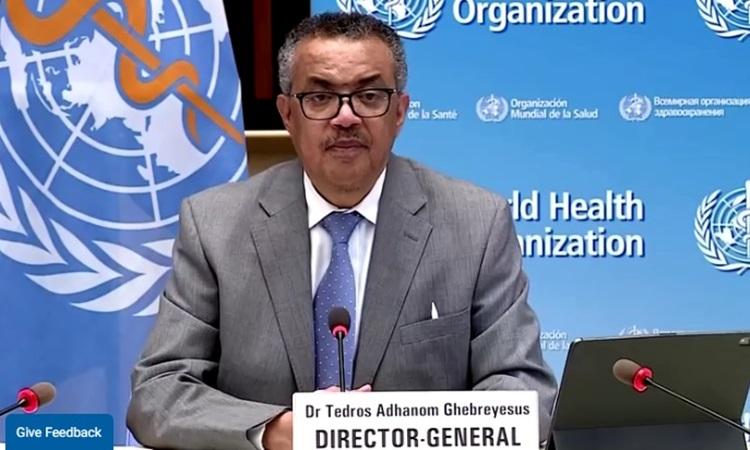 Tổng giám đốc WHO Tedros Adhanom Ghebreyesus trả lời báo chí tại Geneva, Thụy Sĩ hôm 26/4. Ảnh: Reuters.
