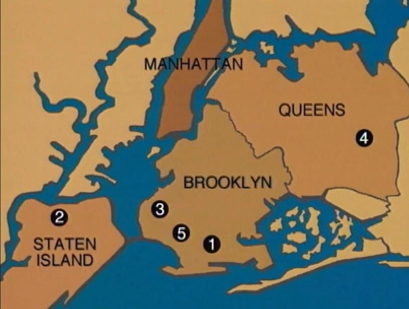 Bản đồ 5 vụ tấn công bằng bom tự chế. Ảnh: Unsolved Mysteries.