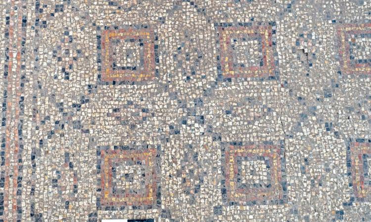 Họa tiết trên nền nhà khảm đá cổ xưa. Ảnh: Assaf Peretz/IAA.