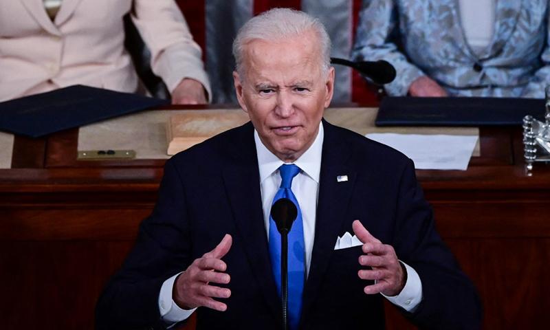 Tổng thống Mỹ Joe Biden phát biểu trước quốc hội lưỡng viện hôm 28/4. Ảnh: AFP.