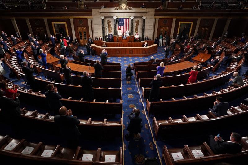 Toàn cảnh phiên họp quốc hội lưỡng viên Mỹ ngày 28/4. Ảnh: AFP.
