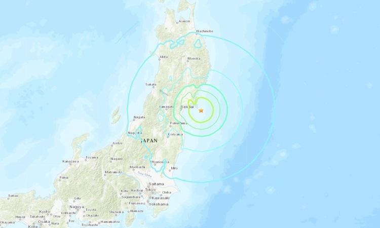 Vị trí xảy ra động đất ngoài khơi  thành phố Ishinomaki, tỉnh Miyagi, Nhật Bản sáng nay. Ảnh: USGS.