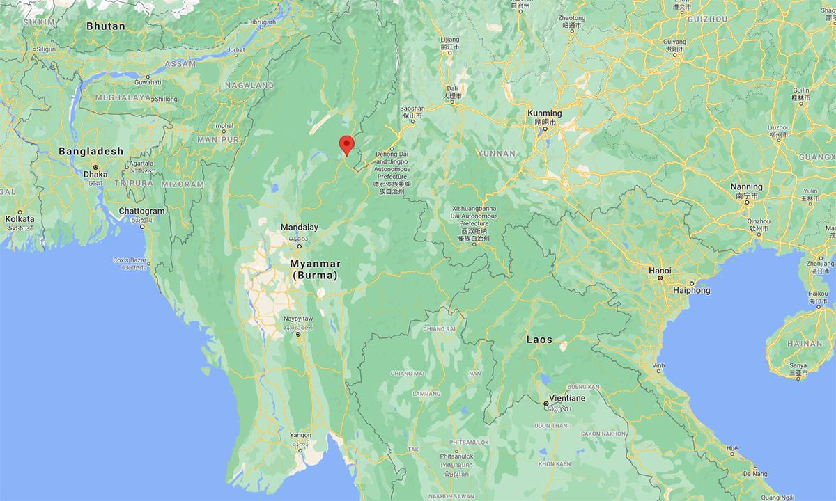 Vị trí thị trấn Moemauk thuộc tỉnh Kachin (đánh dấu đỏ). Đồ họa: Google.