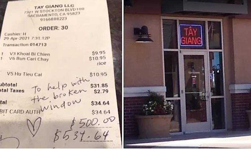 Biên lai thanh toán bữa ăn gần 35 USD được khách hàng tặng thêm 500 USD (trái) cho nhà hàng Tây Giang (phải) ở Sacramento, California. Ảnh: Caro Wyn