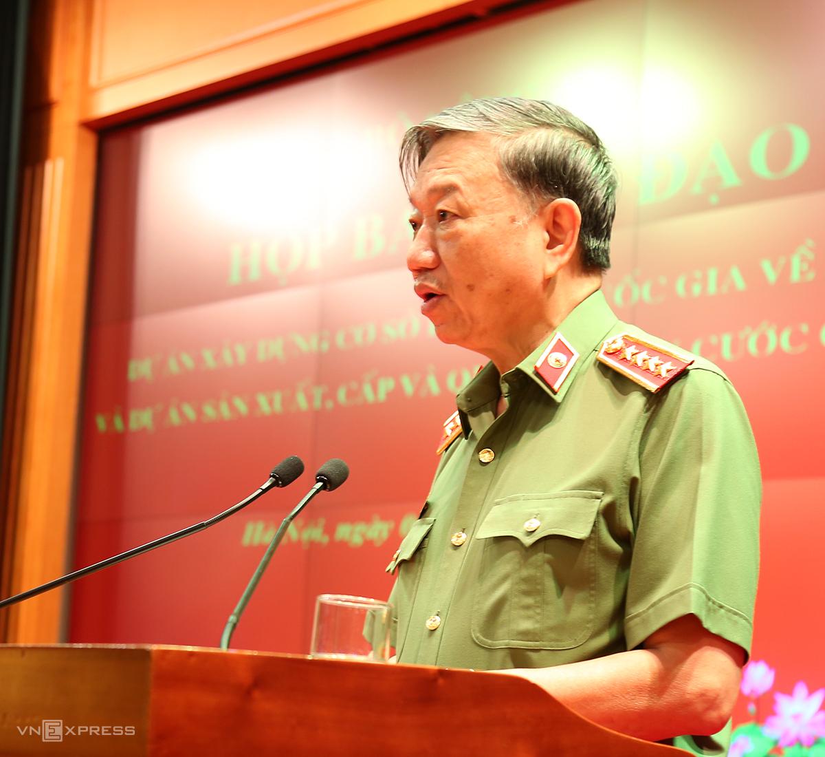 Bộ trưởng Tô Lâm phát biểu trong Hội nghị giao ban. Ảnh: Tiến Dũng