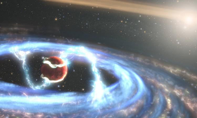Minh họa ngoại hành tinh PDS 70b đang tích lũy vật chất. Ảnh: NASA/ESA/STScI/Joseph Olmsted.
