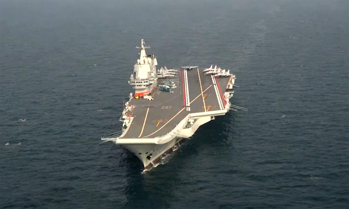 Tàu sân bay Sơn Đông thử nghiệm trên biển Bột Hải trong tháng 12/2020. Ảnh: CCTV.
