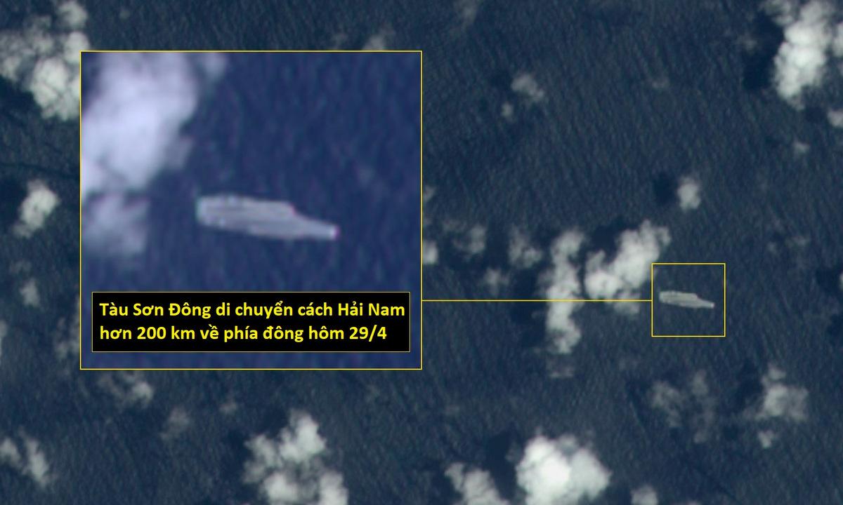 Tàu Sơn Đông ở phía đông đảo Hải Nam hôm 29/4. Ảnh: ESA.