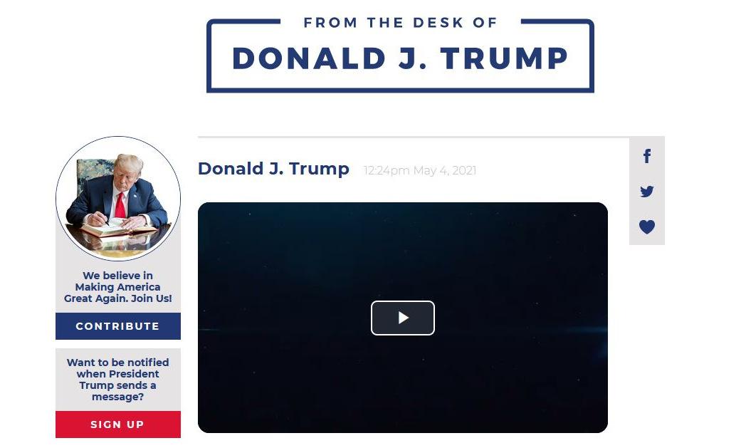 Giao diện nền tảng From the Desk of Donald J. Trump. Ảnh: Donaldjtrump.com.