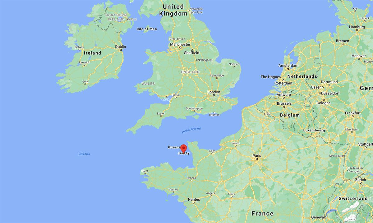 Vị trí đảo Jersey (đánh dấu đỏ). Đồ họa: Google.
