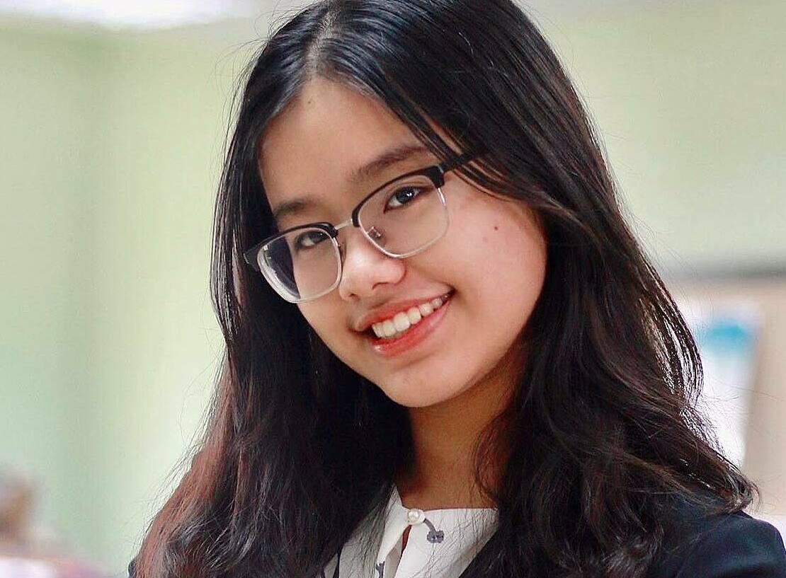 Trần Nguyễn Khánh Trang trong cuộc thi mô phỏng Liên Hiệp Quốc, tháng 8/2020. Ảnh: Nhân vật cung cấp