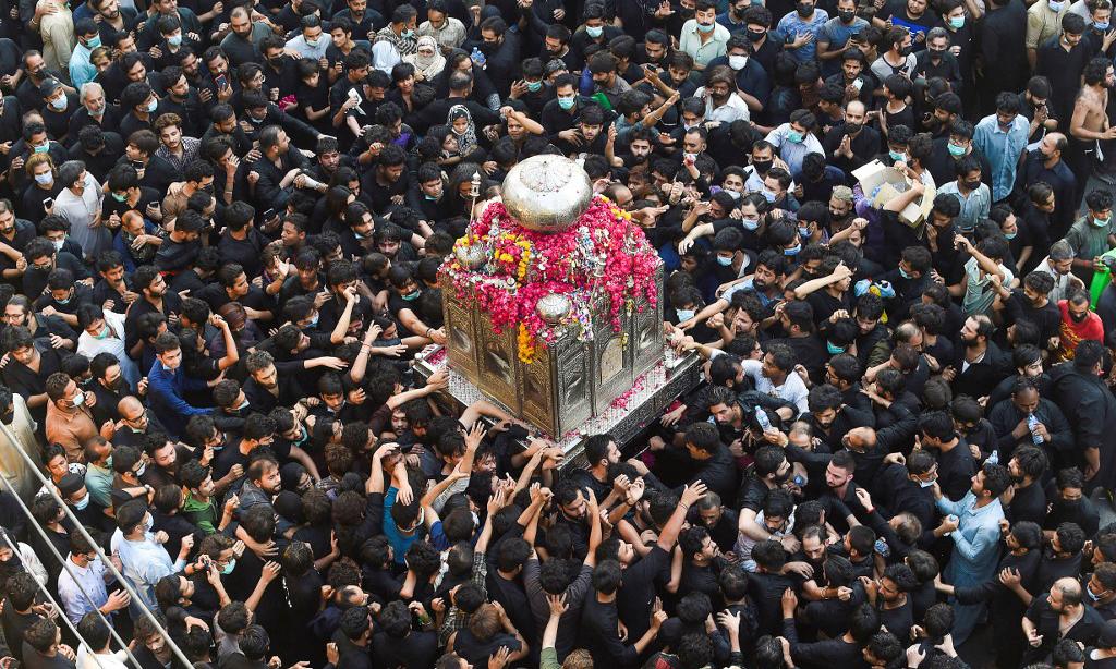 Sự kiện tưởng niệm Imam Ali, người đồng hành của Nhà tiên tri Mohammed, tại thành phố Lahore, Pakistan, hôm 4/5. Ảnh: AFP.